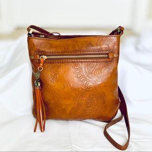 Velez Columbian Leather Embossed Crossbody-NWT